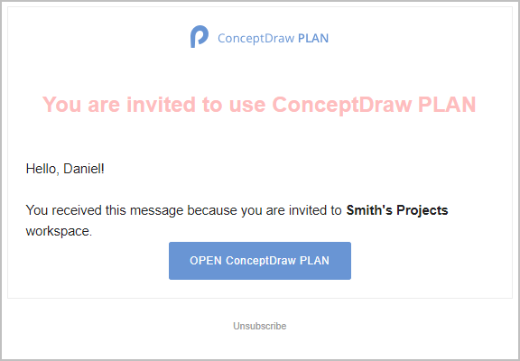 ConceptDraw PLAN:  Inviting a New Participant to Your Project