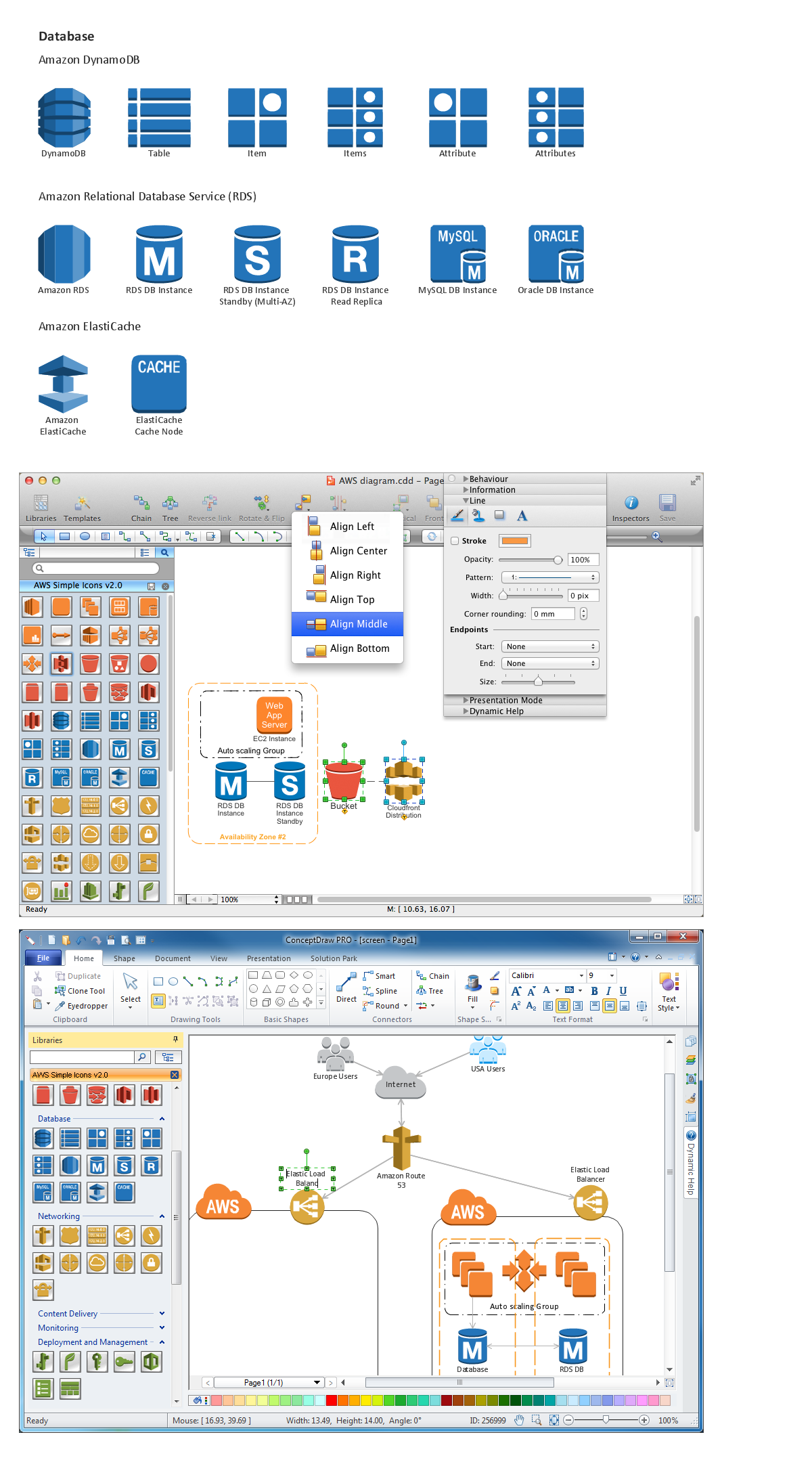 Amazon-Web-Services-AWS-Design-Elements-icons-Data-Base conceptdraw solution park web tool