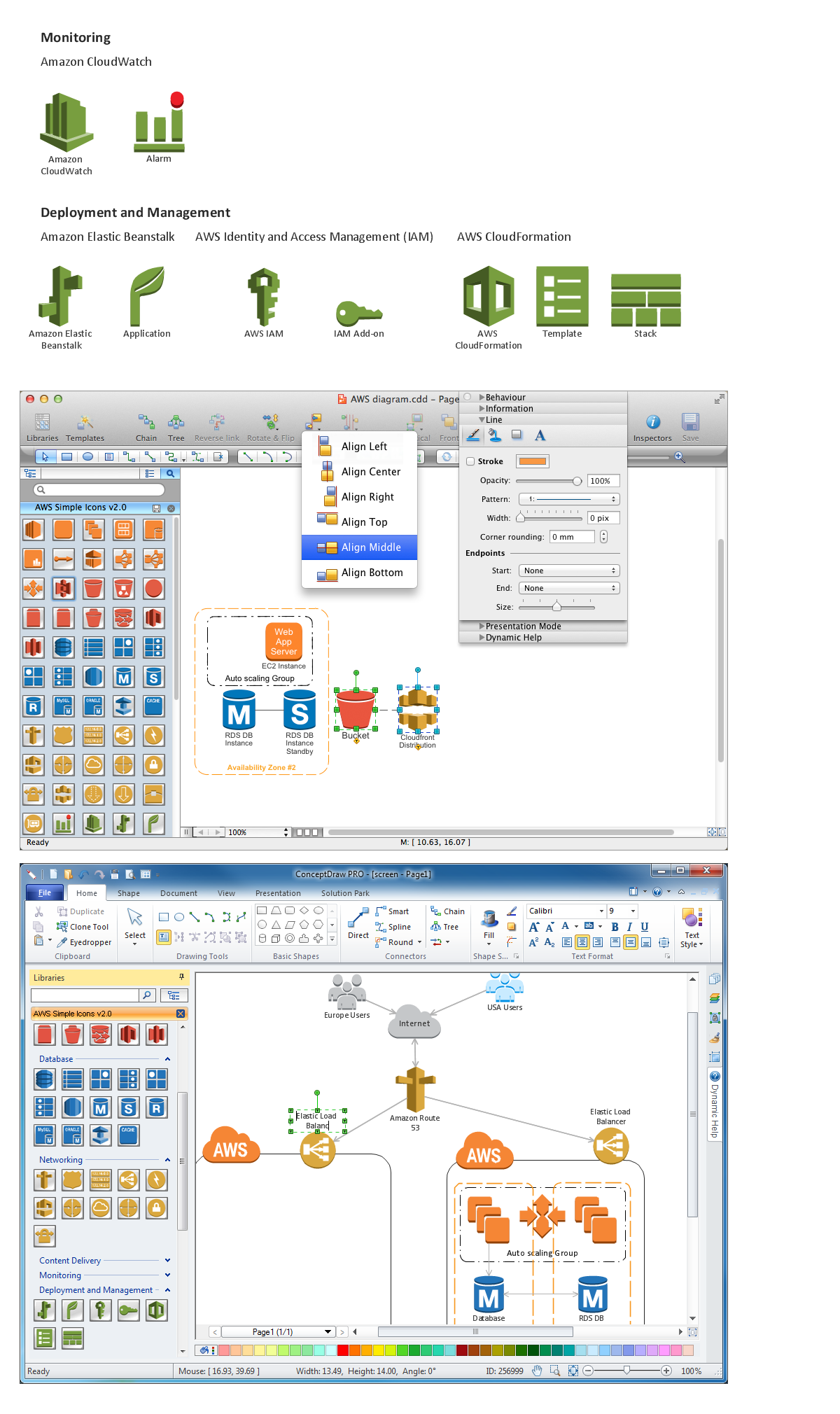 Amazon-Web-Services-AWS-Design-Elements-icons-Monitoring-and-Deployment-and-Management using conceptdraw solution park web tool