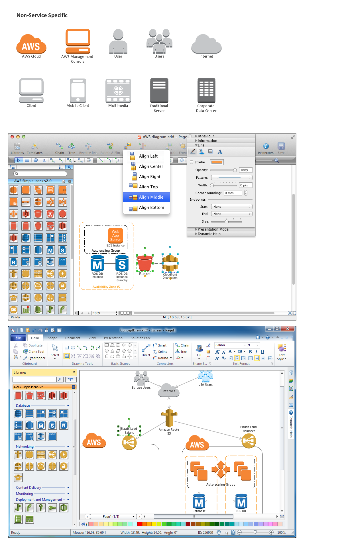 Amazon-Web-Services-AWS-Design-Elements-icons-Non-Service-Specific using conceptdraw solution park web tool