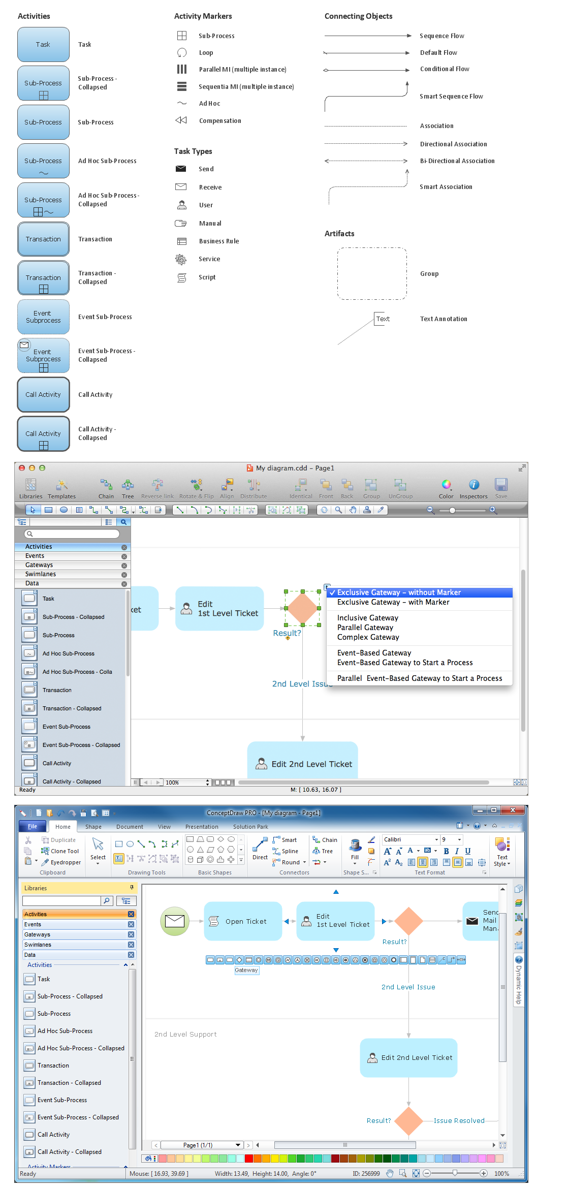 Diagramming software for Business Process — Design Elements: Activities (Win, Mac)