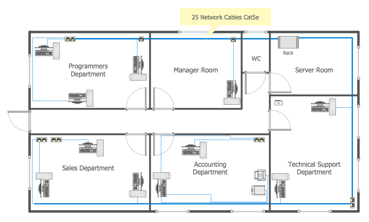 Network layout floor plans how to create a network for Area of a floor plan