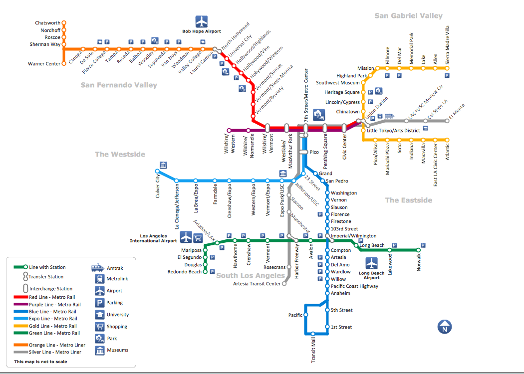 ConceptDraw sample of Metro Map style infographics tube map Los Angeles Metro Rail and Liner - how to draw metro maps using solution Metro Map