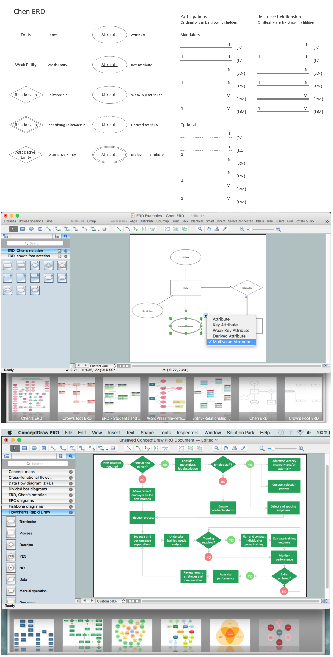 Entity Relationship Diagram Software, Design Elements - Chen (Windows, Macintosh)