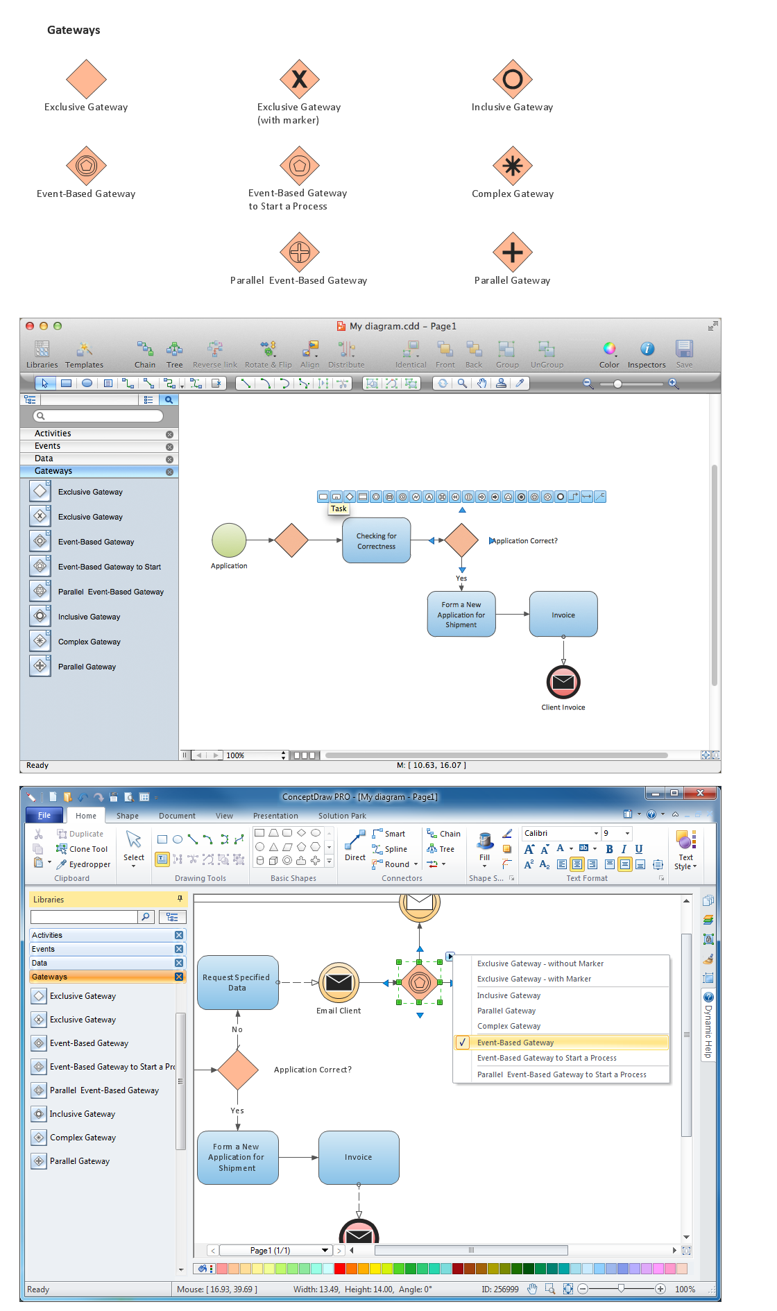 Diagramming software for Business Process — Design Elements: Gateways (Win, Mac)
