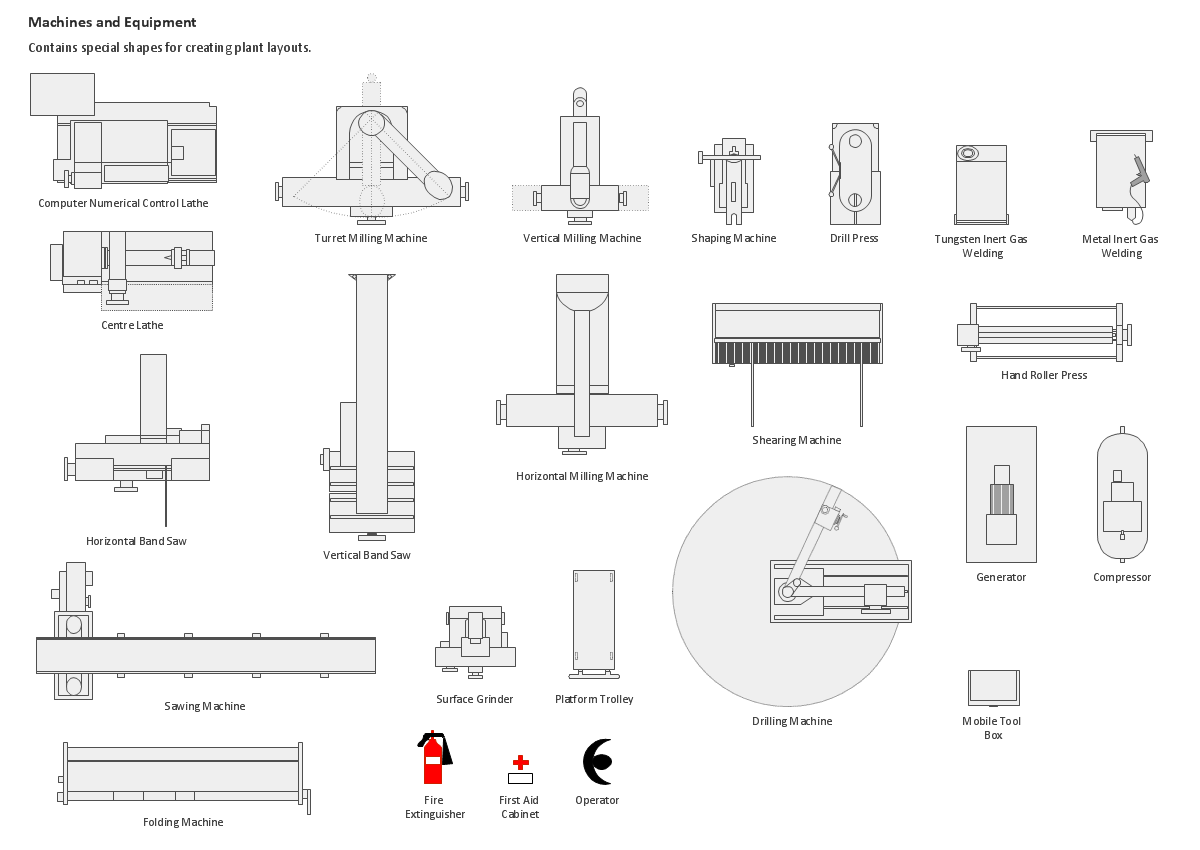 Building Drawing.Design Element: Machines and Equipment
