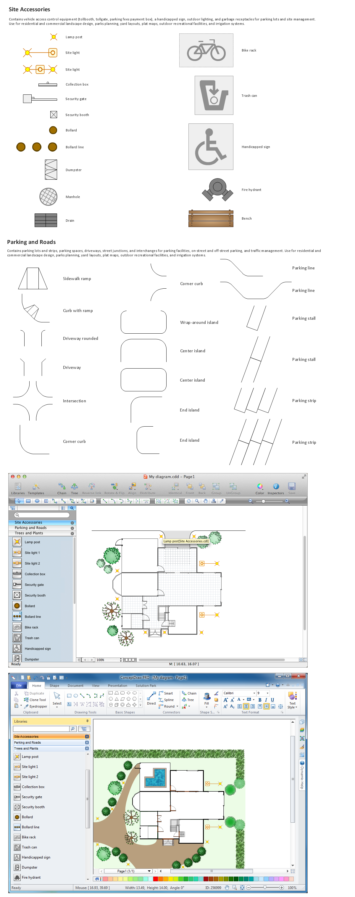 Building Drawing Software.  Design Elements — Site Plan