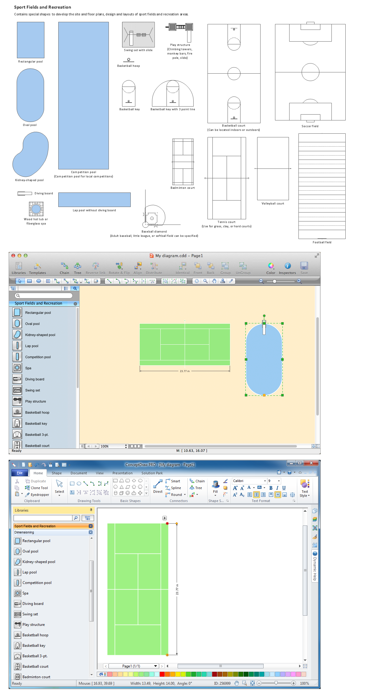 Building Drawing Software.  Design Elements — Sport Fields