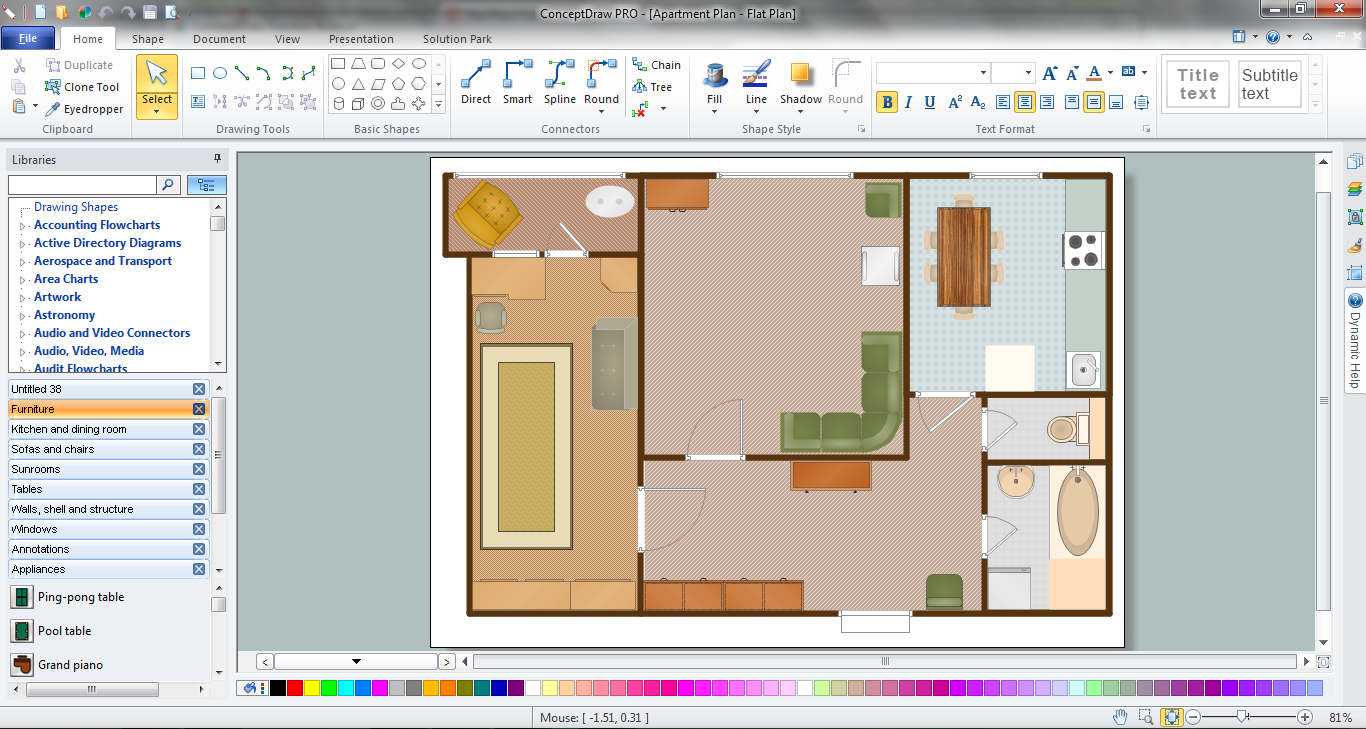 Living Room Piano In Plan Building Plan Software Building Plan Floor Plan Office Software