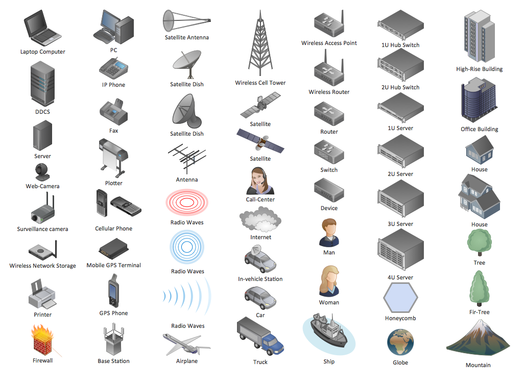 Design Symbols - Computers and network isometric
