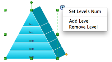 Pyramid diagram isometric object with action menu