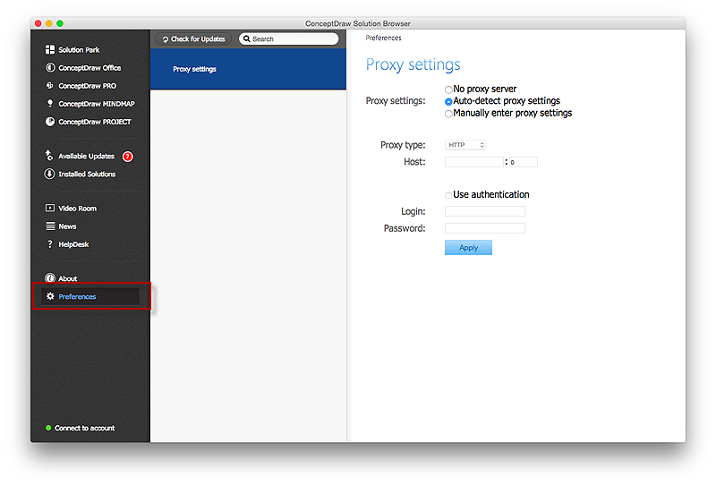 Download ConceptDraw Products Through aProxyServer