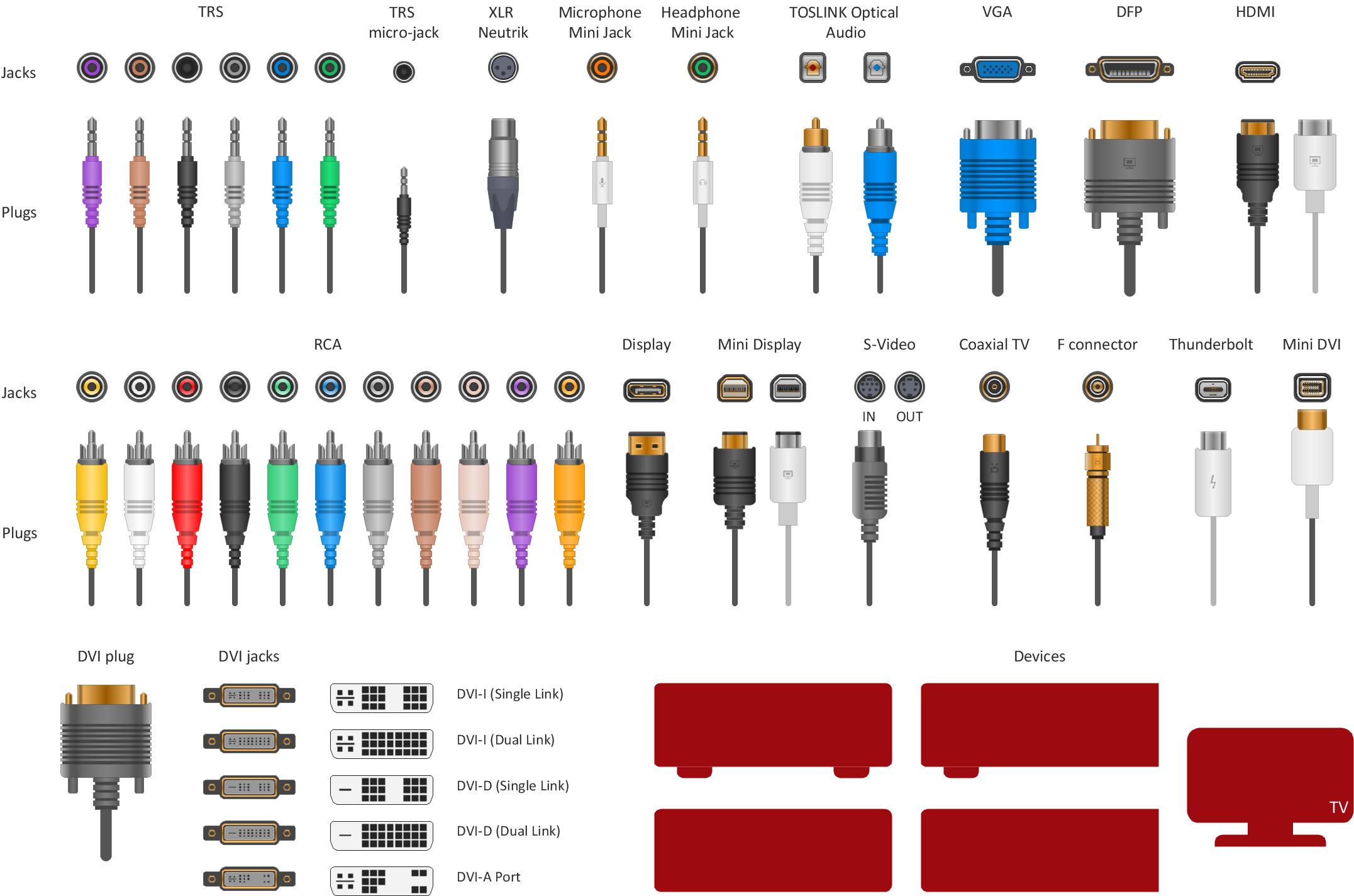 Vector stencils - Audio video connectors