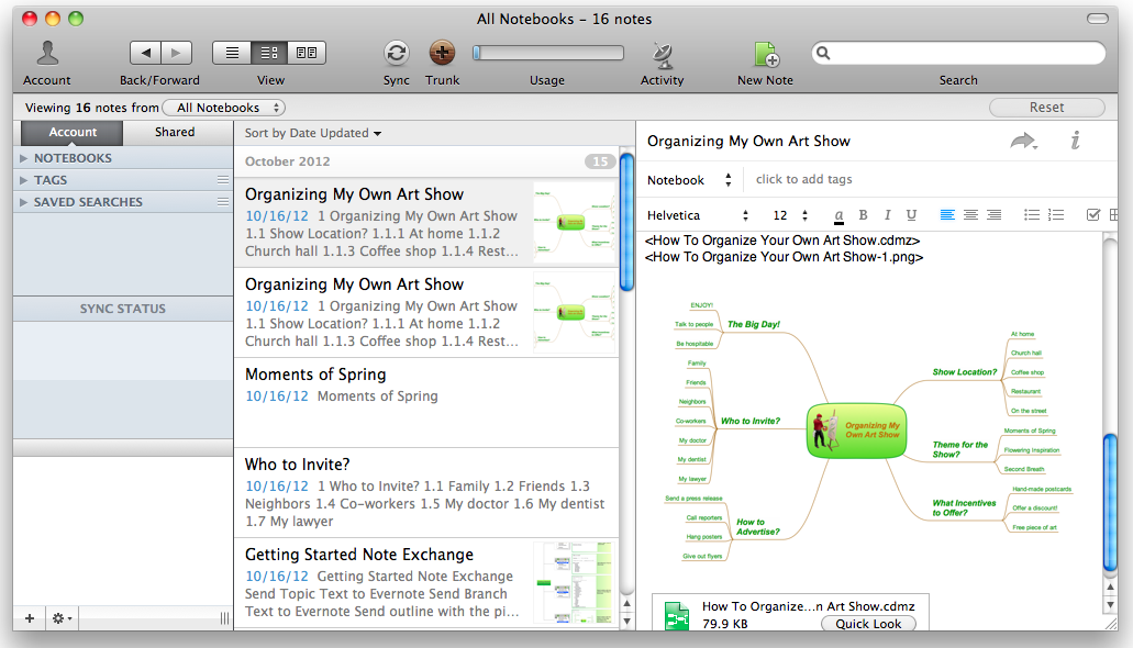 Export from ConceptDraw MINDMAP v10 to Evernote