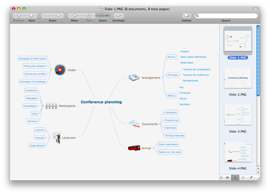 Export from ConceptDraw MINDMAP v10 to a graphic file
