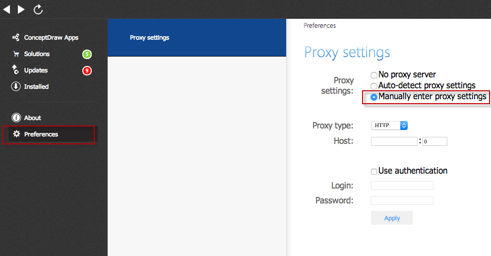 Download ConceptDraw through a Proxy Server