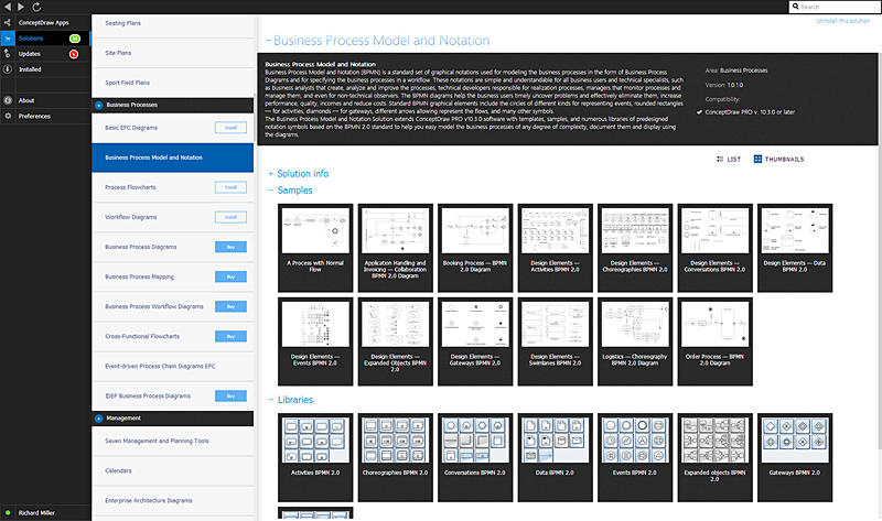 ConceptDraw solutions, templates, libraries