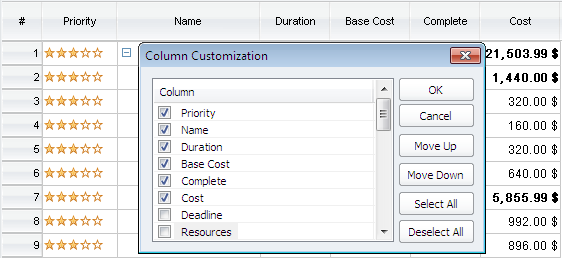 Column customization in ConceptDraw PROJECT v9