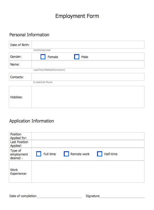 Employment Form Software