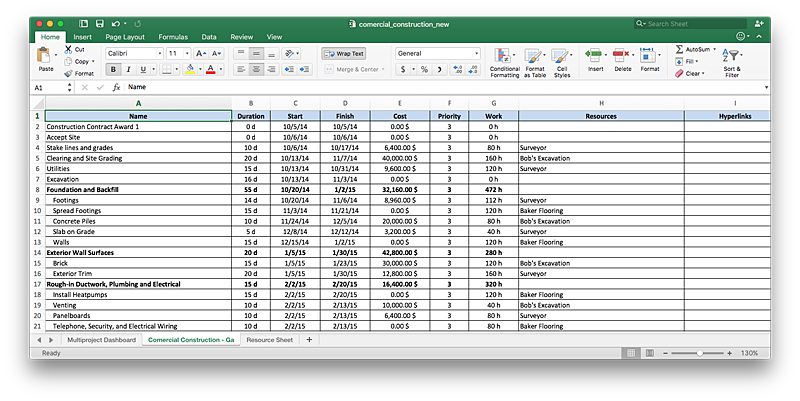 Excel file created from ConceptDraw project