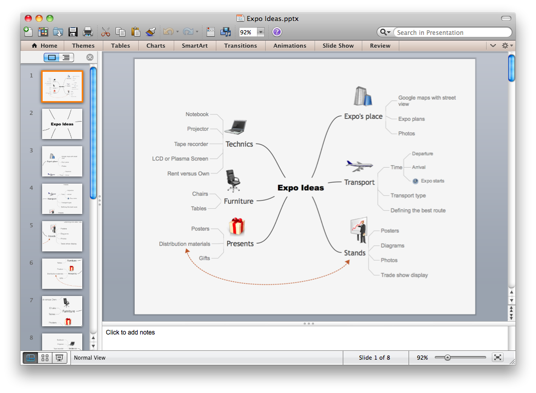 Export from ConceptDraw MINDMAP to PowerPoint