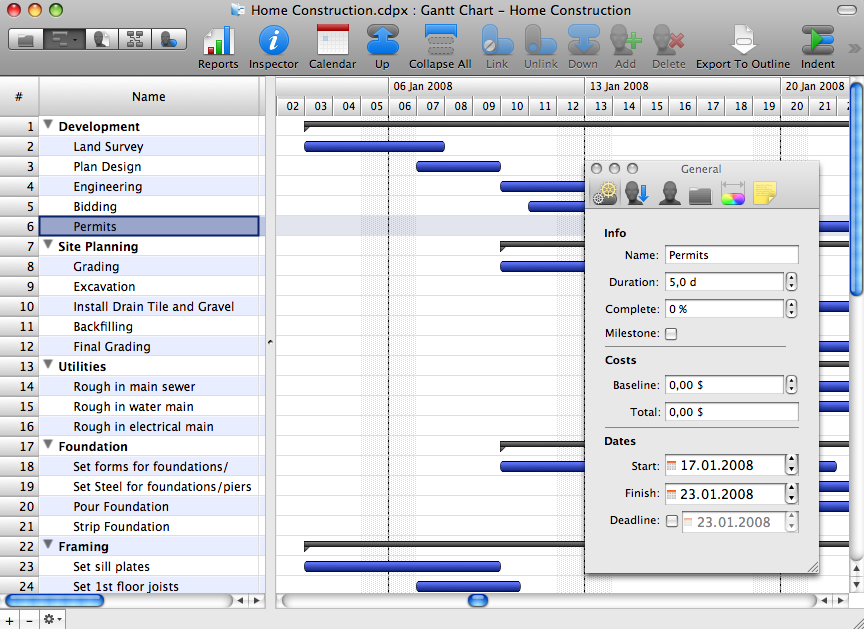 Gantt Chart Software: home build software
