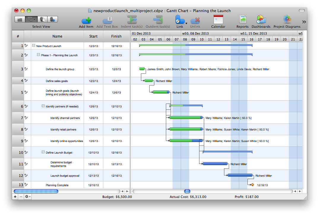 ConceptDraw Project Gantt chart example