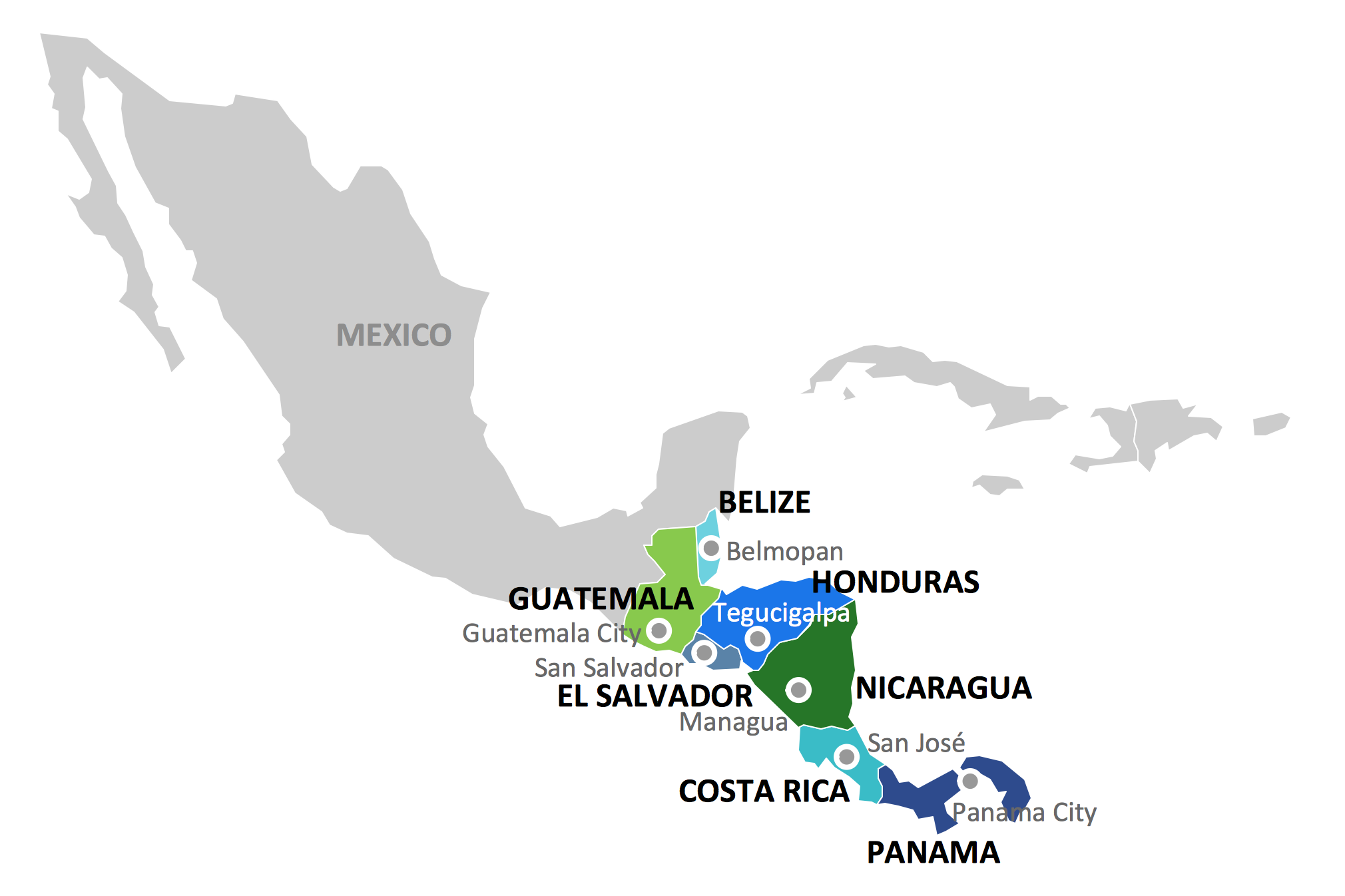 Geo map Central America