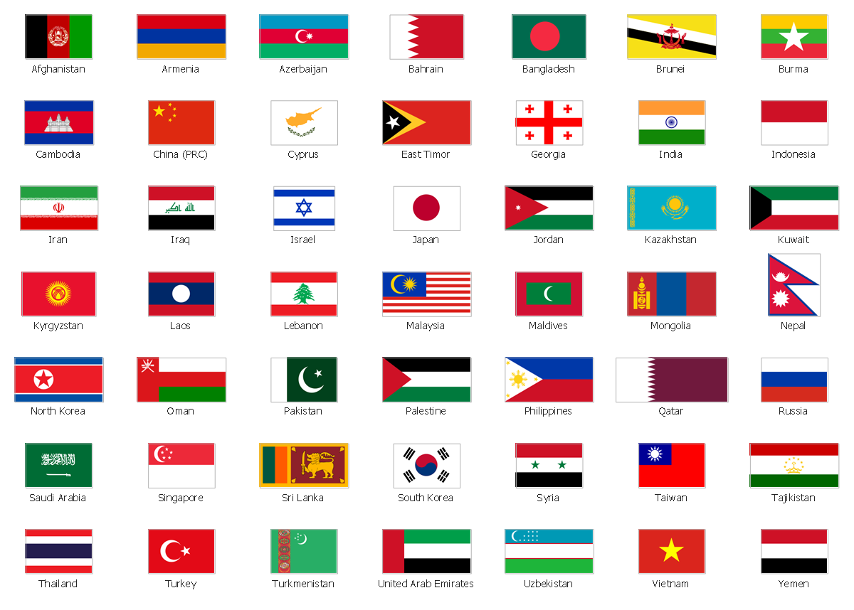 Design elements - Asia flags