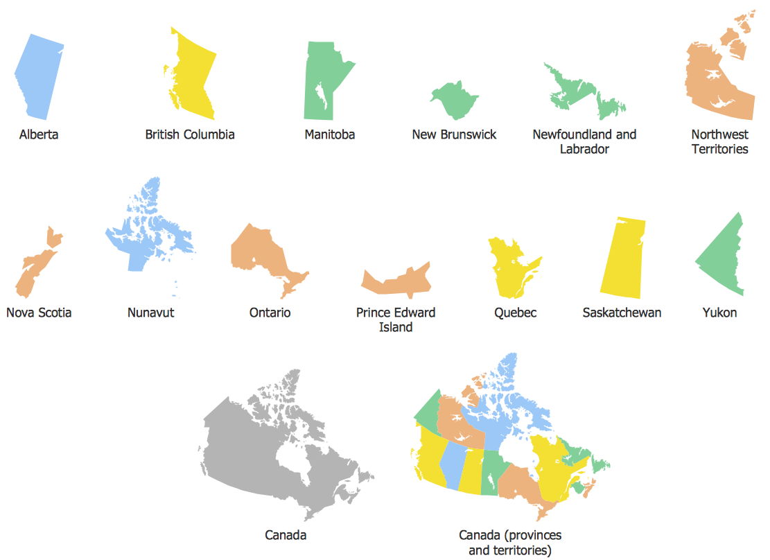 Geo Map - contours of Canada countries