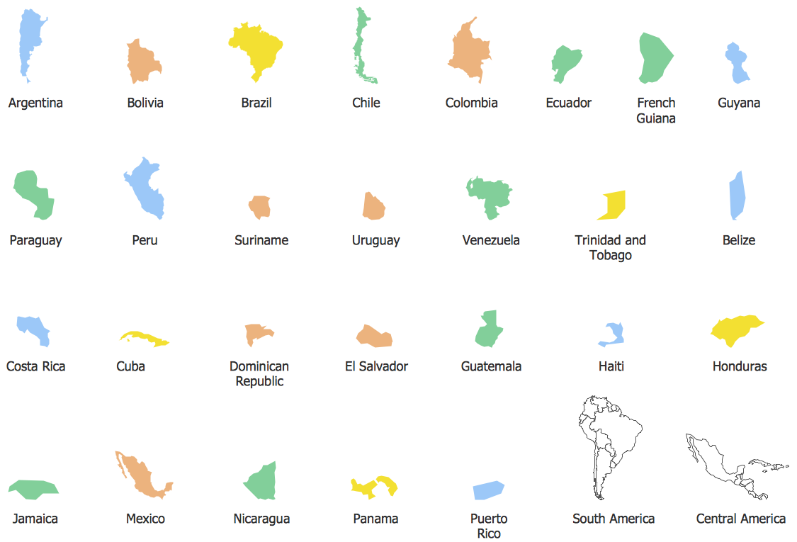 Geo Map - contours of South America countries