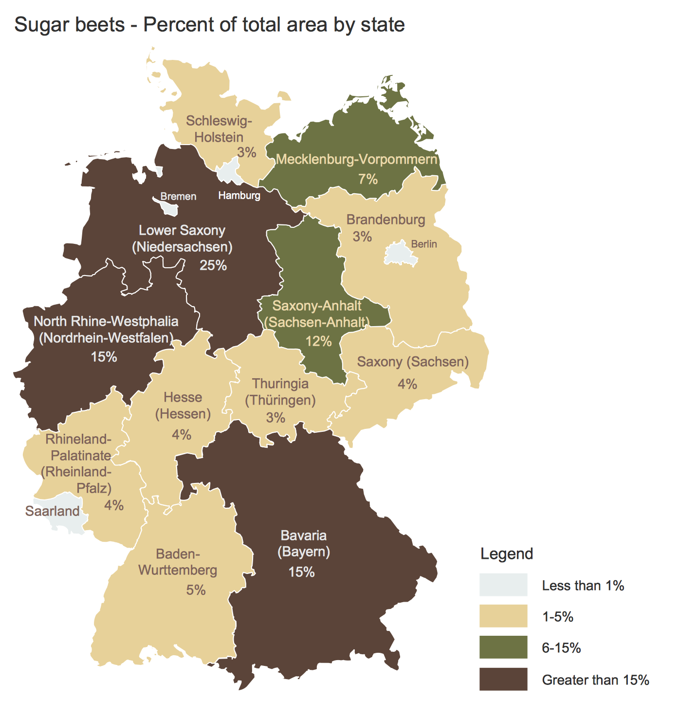 Germany Map - Crop Areas Map Sugar Beets