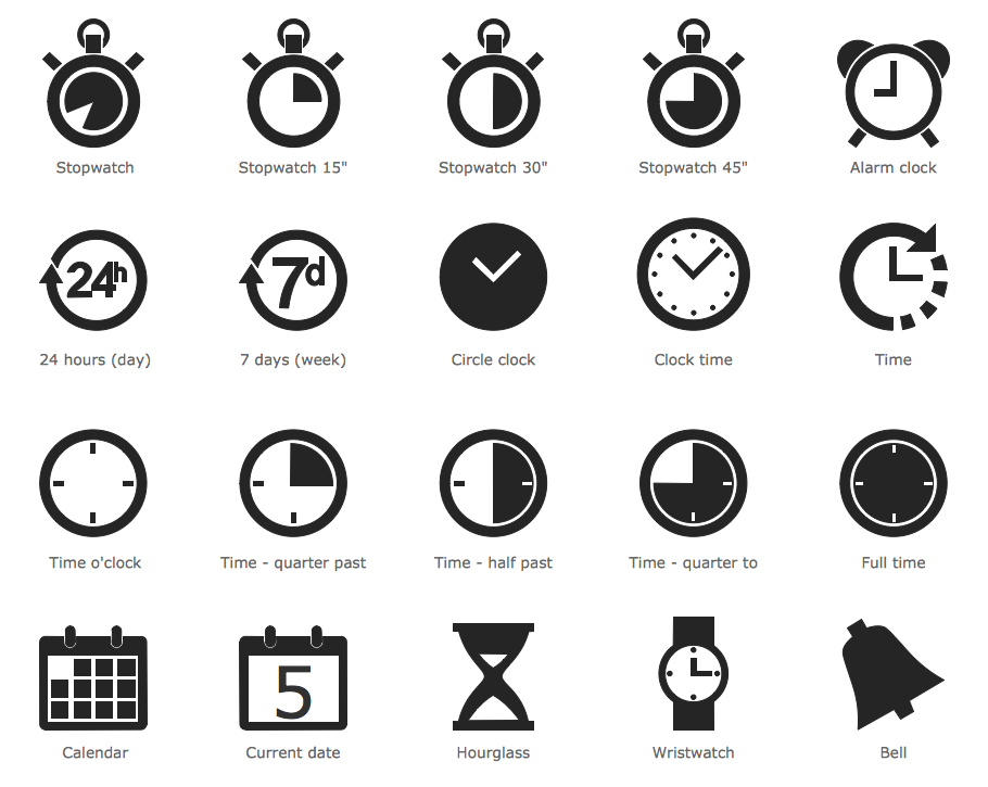 Time and Clock Pictograms