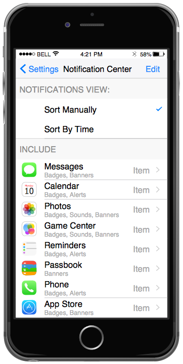 iPhone Interface — Settings Included Apps