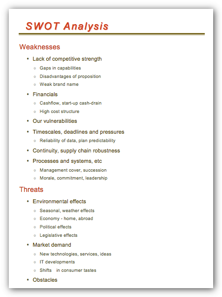 SWOT Analysis in MS Word document