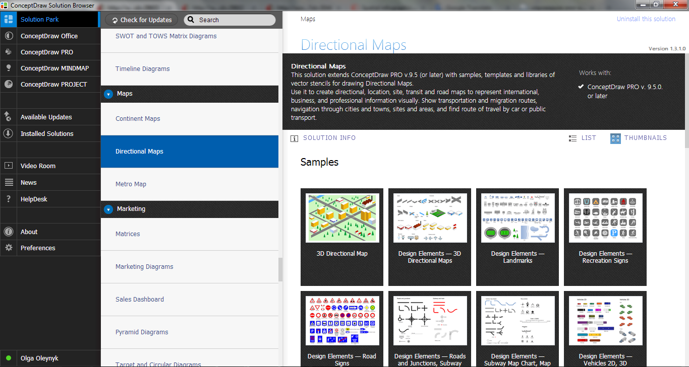 Directional Maps Solution in ConceptDraw STORE