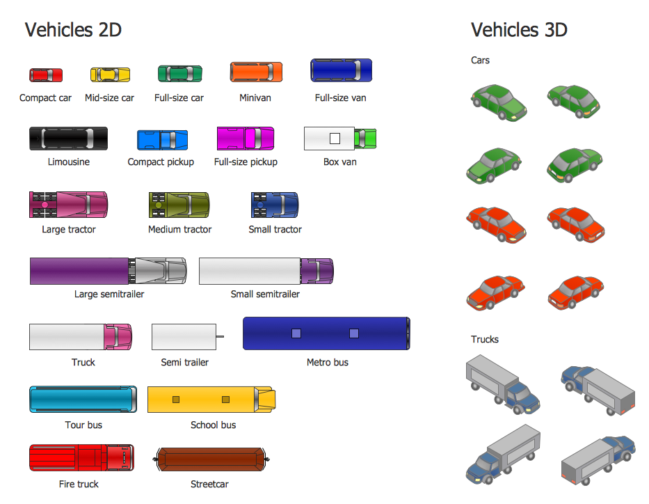 Vehicles 2D, 3D