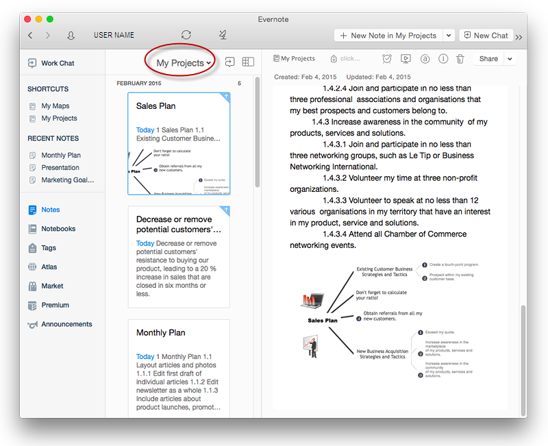 Add a Note fromConceptDraw MINDMAP to  Evernote Account