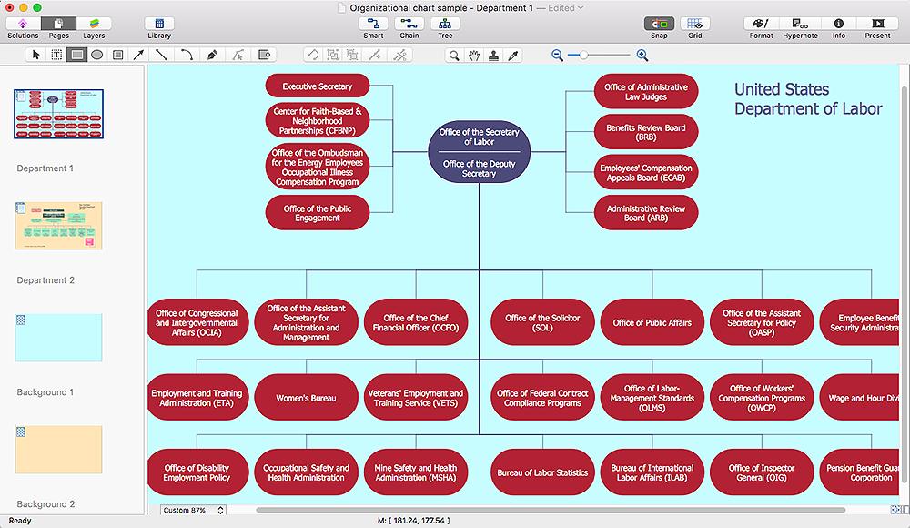 organizational chart multi- page diagram