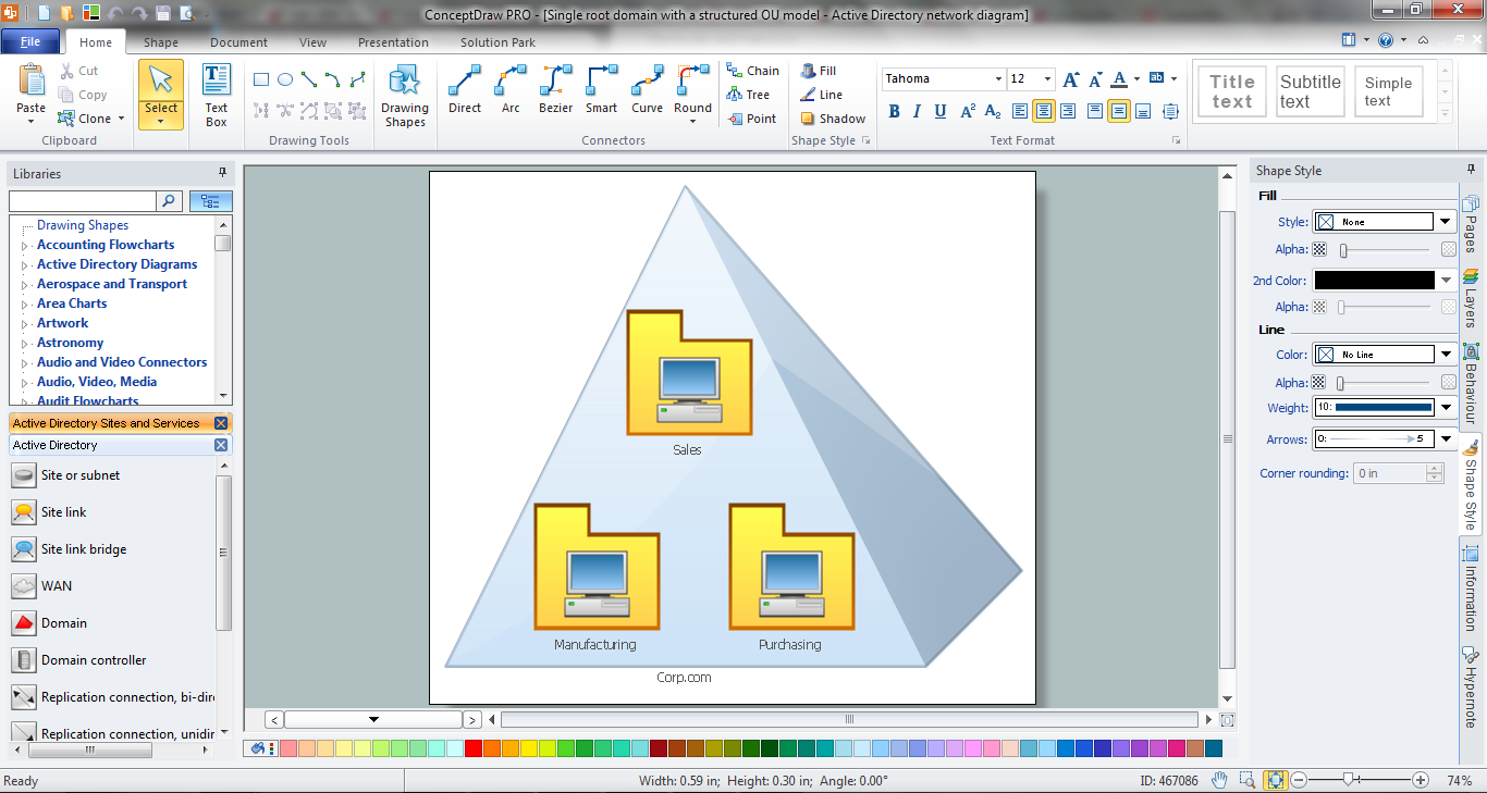 Active Directory Diagram in ConceptDraw DIAGRAM v12 title=