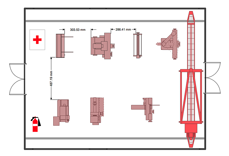 Factory layout floor plan plant layout plans cafe for Machine shop layout software