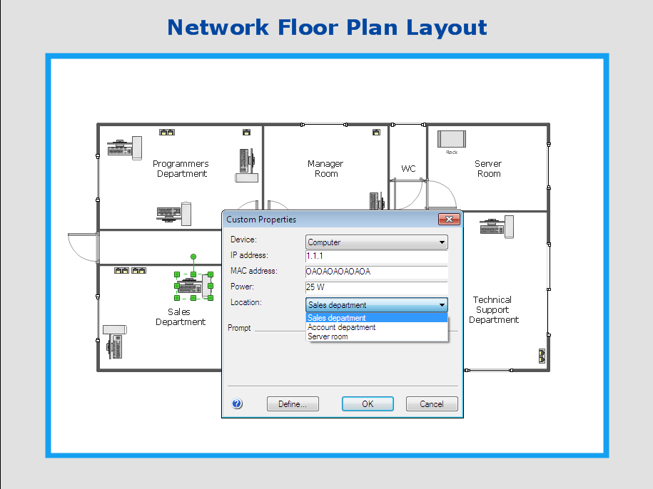 network floor plan custom properties