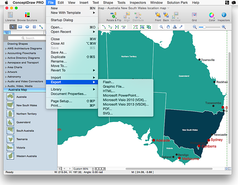 conceptdraw-australia map-solution