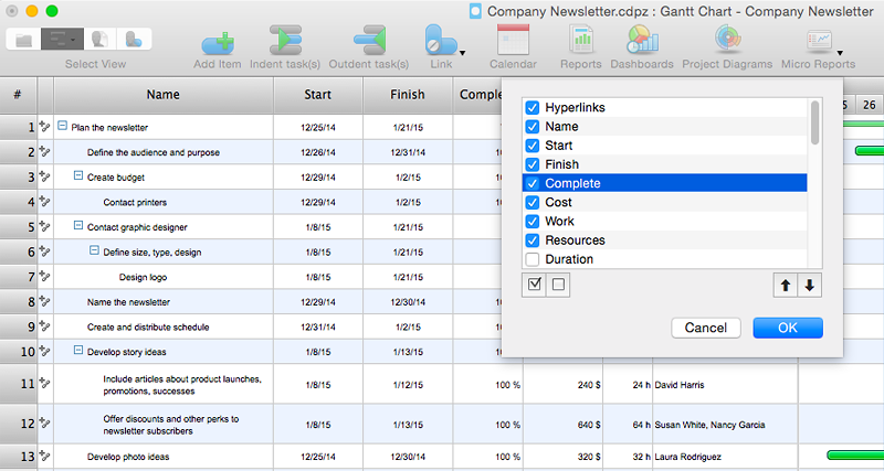 project file -column customization