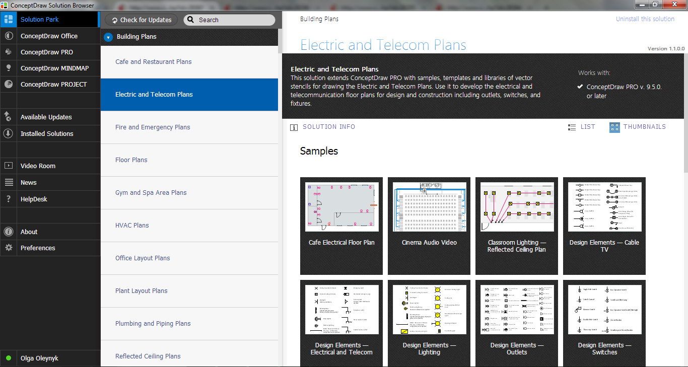 Electric and Telecom Plans Solution in ConceptDraw STORE