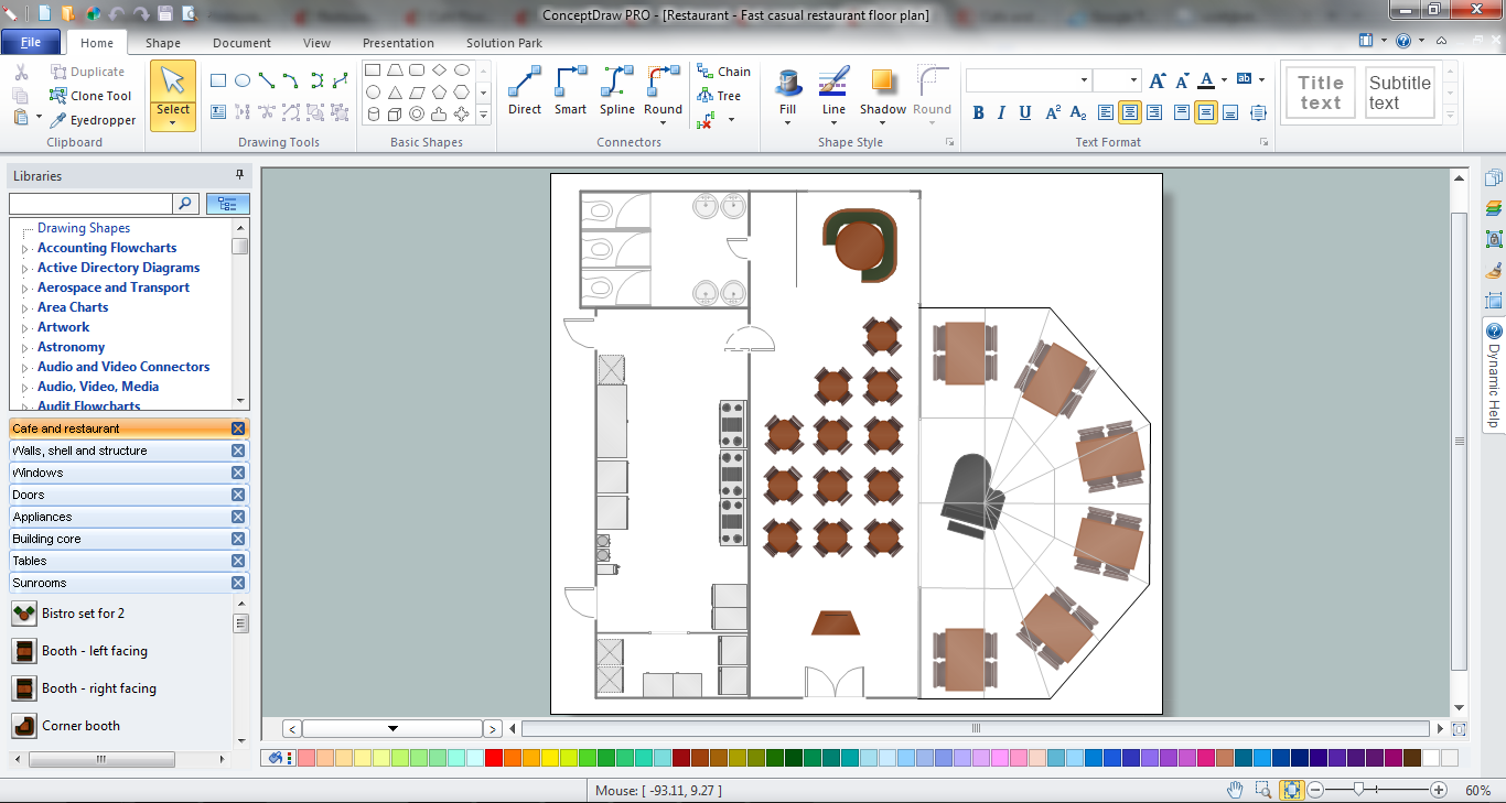 Restaurant Layouts design in ConceptDraw DIAGRAM v12 title=
