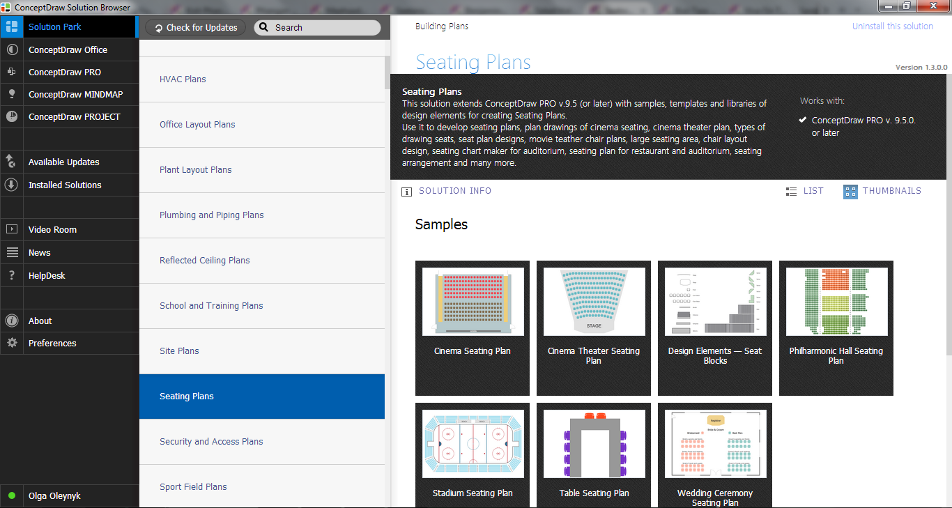 Seating Plans Solution in ConceptDraw STORE