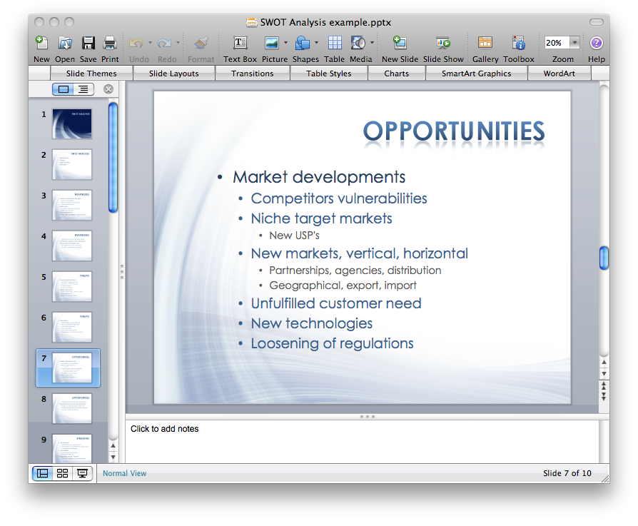 SWOT analysis MS PowerPoint presentation