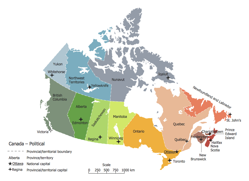 World Continents Map - Canada Political Map