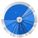 Daily activities pie chart, pie chart, circular arrow diagram, circular motion diagram,